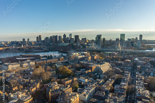 Fotografie, Tablou Aerial view of the buildings in downtown Boston Massachusetts USA and the skyline at sunset