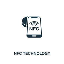 NFC Technology Icon. Monochrome Style Icon Design From Smart Devices Icon Collection. UI. Illustration Of Nfc Technology Icon. Pictogram Isolated On White. Web Design, Apps, Software, Print.