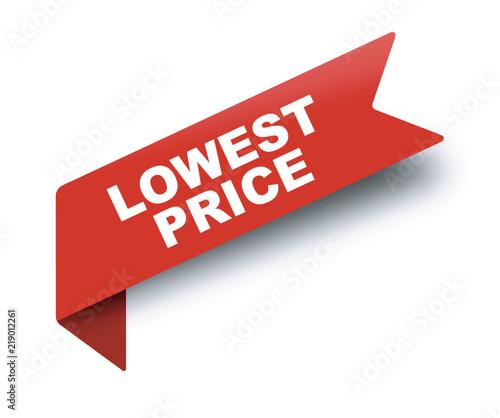 Fotografía  red vector banner ribbon lowest price
