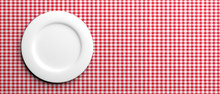 Empty White Plate On Red Check...