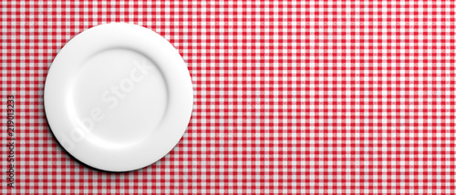 Obraz na plátně Empty white plate on red checkered tablecloth, banner, copy space