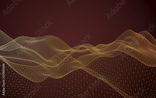 Foto op Plexiglas Bruin Abstract landscape on a brown background. Cyberspace grid. Hi-tech network. 3d technology illustration. 3D illustration