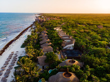 Aerial View Of Tulum Beach At Sunset, Mexico