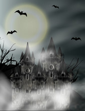 Halloween Vertical Background With Gothic Castle In Fog And Full Moon. Fantasy Night View. Vector