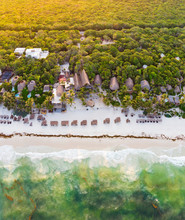Aerial View Of Tulum Beach At ...