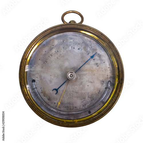 Photo old barometer aneroid, isolate