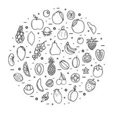 Fruits Icons Big Set, Hand Dra...