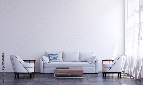 Fototapety, obrazy: The luxury white living room interior design and white pattern wall background