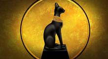 Egyptian Asbstract Background, Goddess Of Egypt Bastet, Abstract Golden Background