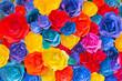 Leinwandbild Motiv Backdrop of colorful paper roses