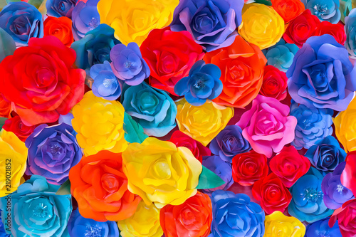 Backdrop of colorful paper roses Canvas