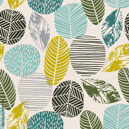 Poster Artificiel Abstract autumn seamless pattern with trees. Vector background for various surface.
