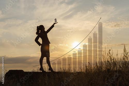 Fototapeta Businesswoman with dollar sign in hand . obraz