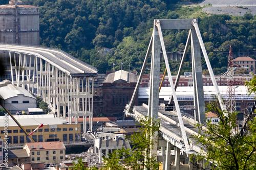 Fotografie, Obraz  Crollo del ponte Morandi a Genova