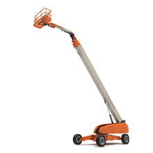 Orange Self Propelled Articulated Wheeled Lift With Telescoping Boom And Basket On White. 3D Illustration