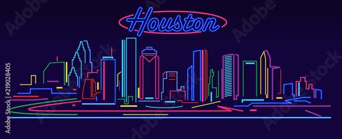 Fotografía  Houston skyline by night