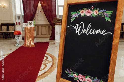 Wedding Welcome Board With Space For Text Rustic Wooden Wall With
