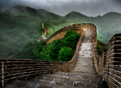 Poster Chinese Muur The Great Wall Badaling section with clouds and mist, Beijing, China