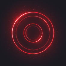 Glowing Rings With Small Metal Balls, Luminous Neon Swirling On Dark. Light Circles Of Different Sizes With Bright Shining Areas. Magic Energy Portal With Particles. Digital Elements. 3d Rendering