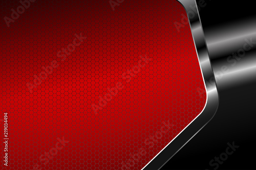 Fotografie, Obraz  Abstract hexagon gradient red mesh background illustration with hexagon metal frame for business