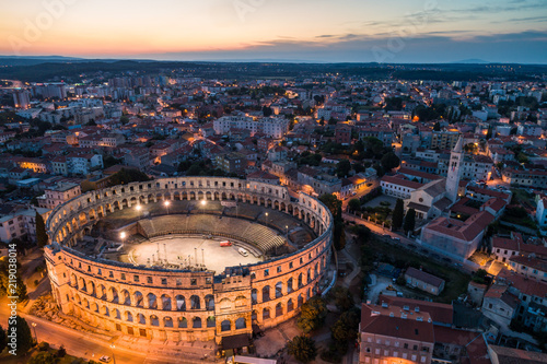 Aerial photo of Roman Colosseum in Pula, Croatia at night