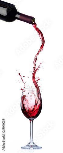 Stampa su Tela  Wine List Design - Motion And Splashing In Wineglass