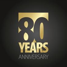 80 Years Anniversary Gold Black Logo Icon Banner