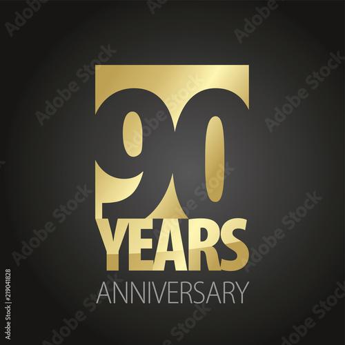 Valokuva 90 Years Anniversary gold black logo icon banner