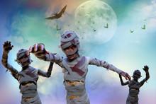 3D Illustration Of A Mummy On Halloween Background