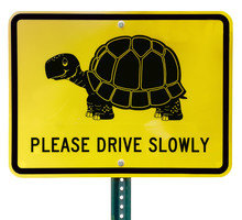 Isolated Turtle Crossing Sign.