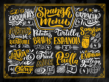Freehand Sketch Style Drawing Of Spanish Menu With Different Food Names, Various Elements And Hand Written Lettering. Chalkboard Design. Detailed Illustration Isolated On Background