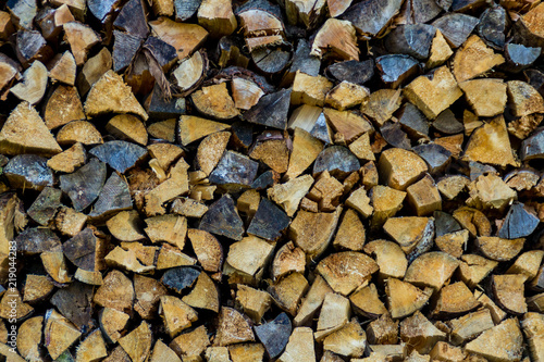 Foto op Canvas Brandhout textuur Detail of firewood stack