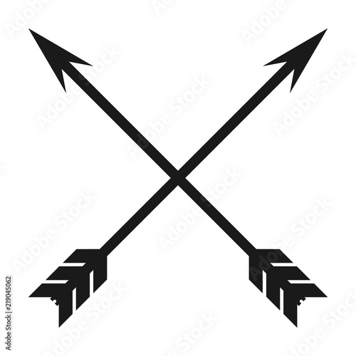 Photo Minimalist, flat, crossed arrows icon. Isolated on white