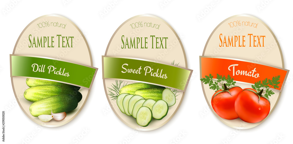 Set of labels with ecological tomato and pickles isolated. Vector illustration