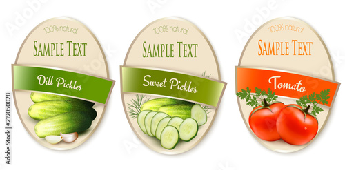 Fototapety, obrazy: Set of labels with ecological tomato and pickles isolated. Vector illustration