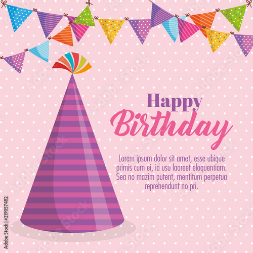 Happy Birthday Card With Party Hat Vector Illustration Design