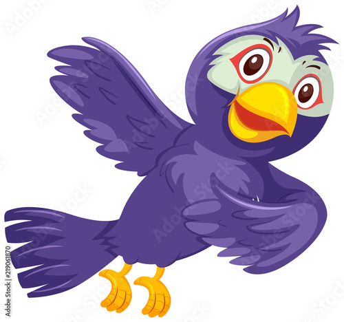 A purple bird on white background Canvas Print