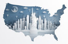 New York City With Liberty Statue And United States Of America's Map In Paper Cut Art Style Vector Illustration. Travel Poster, Postcard And Advertising.