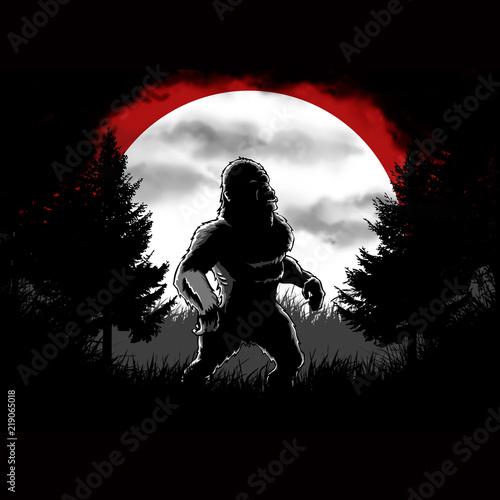 Dark bigfoot forest cartoon illustration Wallpaper Mural