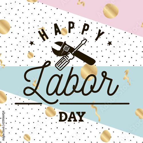 Staande foto Retro sign Happy Labor day emblems