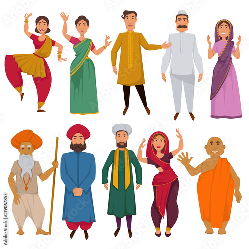 Fényképezés  Indian people traditional clothes vector cartoon
