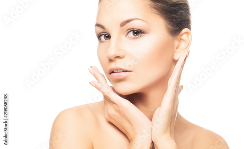 Fototapety, obrazy: Human face isolated on white background. Spa portrait of beautiful, fresh and healthy woman.