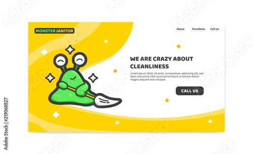 Slime Monster Janitor Cleaner Service Website Header Cartoon Mascot