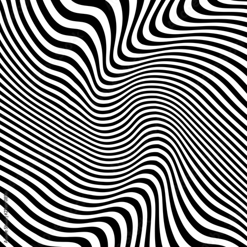 Fotografija  Abstract Warped Black and White Lines Background