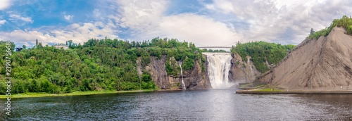 Küchenrückwand aus Glas mit Foto Wasserfalle Panoramic view at the Montmorency falls at a distance of Quebec in Canada