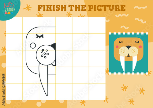 Fotografía  Copy and complete the picture vector blank game, illustration