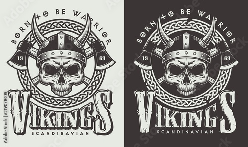 T-shirt print with viking head Wallpaper Mural