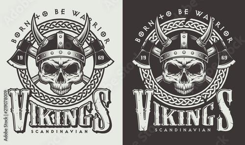 Photo T-shirt print with viking head