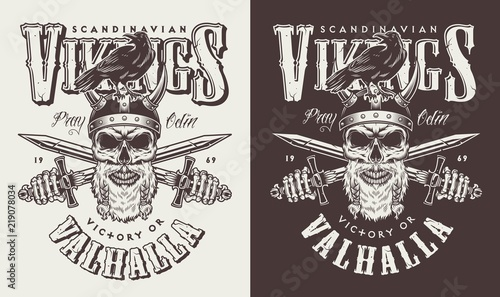 T-shirt print with viking head Canvas Print