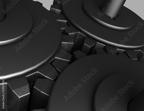 Photo 3D Gear.The mechanism . 3d rendered illustration